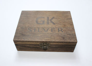 Hot Stamped Logo Wooden Crate Display Boxes , Roasted Paulownia Vintage Wooden Box With Lid