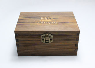 Retro Vintage Handmade Wooden Jewelry Box , Pine Unfinished Wood Box with dark wood color