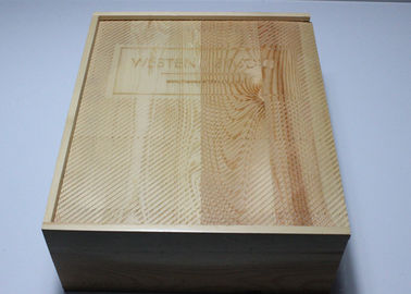 Large Size Shiny Finish Wood Gift Packaging Boxes , Natural Wood Color Handmade Wooden Boxes