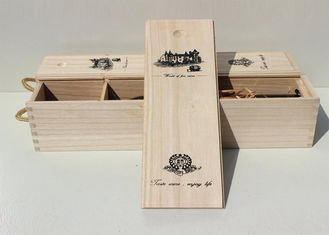 Paulownia Personalised Wine Box , Single Bottle Empty Wooden Wine Boxes With Screen Printing Logo