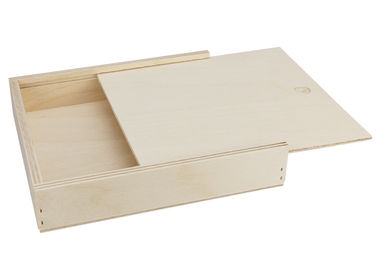 Large Unfinished Wood Box Personalized Natural Color Storage Tray, Wooden Tray With Lid OEM Service