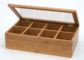 China Custom Logo Natural Bamboo Gift Box , Handmade Bamboo Tea Bag Storage Box With Clear Lid supplier