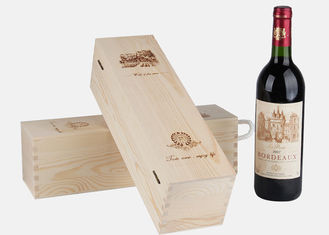 Pine Wood Hinged Lid Personalised Wooden Wine Box Rectangle For 1 Bottle
