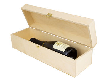 Single Bottom Personalised Wooden Wine Box , Pine Empty Wooden Wine Boxes