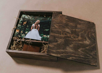 4 X 6 Wooden Photo Album Box , Custom Wooden Wedding Photo Box With Dividers