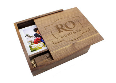 Natural Color Walnut Wooden Photo Album Box With Sliding Lid Magnet Closure