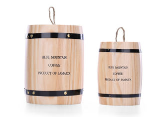 Pine Wood Coffee Packaging Box , Mini Wooden Tea / Coffee Storage Barrel With Lid