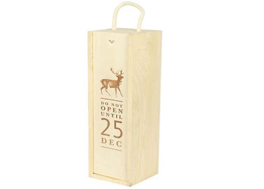 Gift Packaging Unfinished Personalized Wooden Wine Box With Lid For 1 Bottle