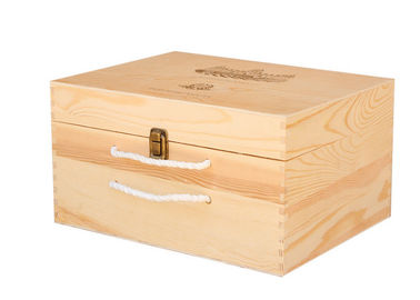 China Handmade 6 Bottle Pine Personalised Wooden Wine Box Gift Packing With Hand Rope supplier