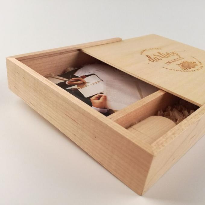Sliding Lid Wooden Photo Frame Box , Wooden Photo Memory Box With Wooden USB Drive
