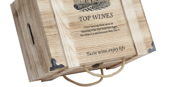 Solid Paulownia Wood Hand Made Wine Crate Storage Boxes With Lock For 6 Bottle